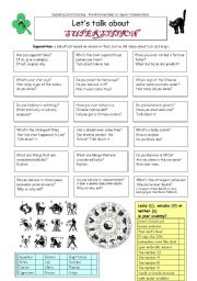 English Worksheet: Let�s talk about SUPERSTITION
