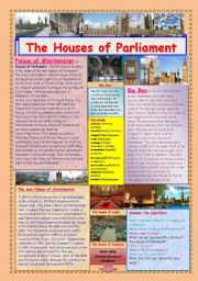 English Worksheets: The Houses of Parliament. (2 pages)