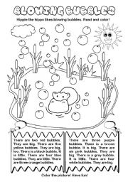 English Worksheets: Blowing Bubbles (colors and numbers)