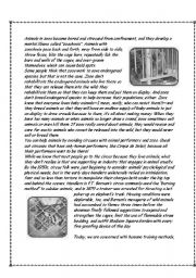 English Worksheets: Zoos and circuses are cruel to animals pt 2