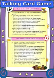 English Worksheets: Class Activity (TALKING CARDS) *2 Pages of Questions*