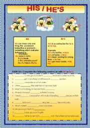 English Worksheets: HE�S or HIS