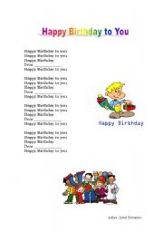 English Worksheets Happy Birthday To You Song
