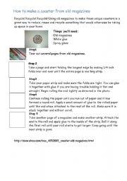 English Worksheets: Paper coaster