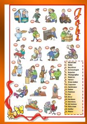 English Worksheet: Jobs (1/2)