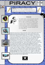 English Worksheet: Piracy - reading, speaking and youtube listening for upper-intermediate and advanced students