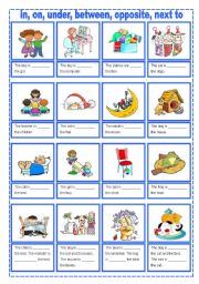 Prepositions of place (two pages)