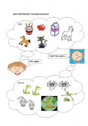 English Worksheets: make sentences for sam and kevin