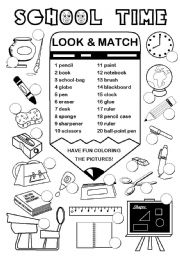 English Worksheet: School Time (2/2)