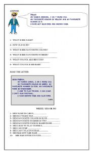 English Worksheets: Reading Comprehension for beginners containing personal info