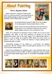 English Worksheets: About Painting - Pierre Auguste Renoir