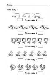 English Worksheets: Take away 1