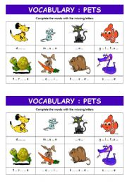 English Worksheet: PETS vocabulary