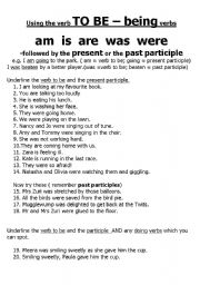 English worksheets: being verb