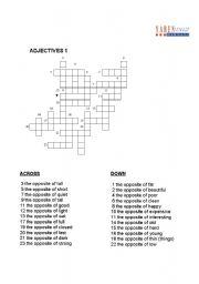 English Worksheet: ADJECTIVES- crossword