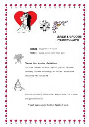 English Worksheets: Bride and Groom Exhibition