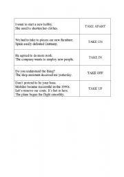 English Worksheet: Phrasal verbs with TAKE - Game Domino