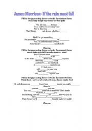 English worksheet: James Morrison- If the rain must fall