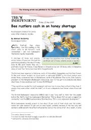 English Worksheet: Bee rustlers cash in on honey shortage - Stealing Honey, 2 pages (reading and discussion)