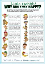 English Worksheet: LITTLE HOBBITS! WHY ARE THEY HAPPY? another ws from my