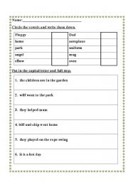 math worksheet : english teaching worksheets the vowels : Worksheets On Capital Letters And Full Stops For Grade 1