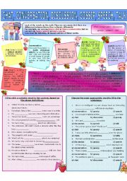 English Worksheet: COLLOCATION 20 - CHAT, CONVERSATION, DISCUSSION, GOSSIP, SPEECH, TALK