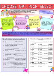 English Worksheets: COLLOCATION 21 - CHOOSE, OPT, PICK, SELECT