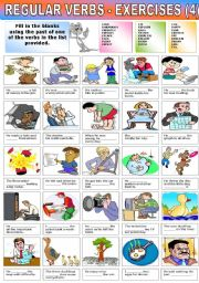 English Worksheet: REGULAR VERBS �EXERCISES (4)