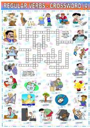 English Worksheet: REGULAR VERBS - CROSSWORD (4)