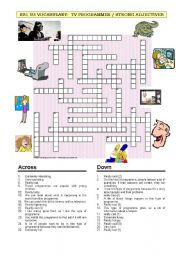 Crossword: TV + adjectives vocabulary