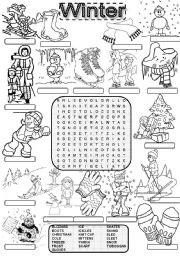 English Worksheet: Wordsearch WINTER
