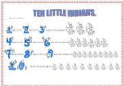 English Worksheet: the song TEN LITTLE INDIANS (3-page exercises)