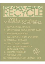 English Worksheet: Recycle Poster