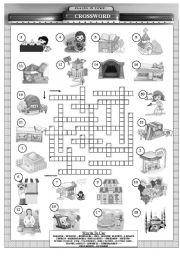 places in town crossword b w version esl worksheet by orhanmazman. Black Bedroom Furniture Sets. Home Design Ideas