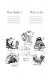 English Worksheet: Good and bad habits, health-food