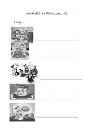 English Worksheets: what did the flistones do?