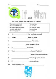 English Worksheets: If and When