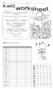 English Worksheets: A wild worksheet
