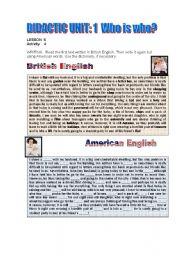English Worksheets: American or British