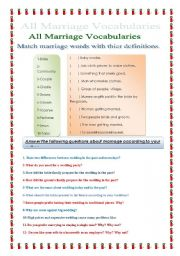 English Worksheet: All marriage vocabularies
