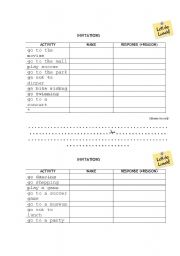 English Worksheets: Invitations chart