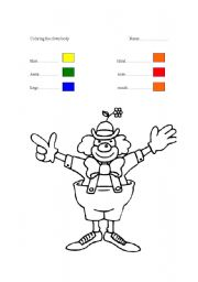 English Worksheets: coloring the clown