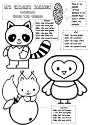 English Worksheets: MY WACKY PLANET  - Animals from the woods