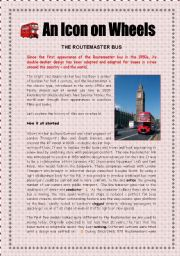 English Worksheet: An icon on wheels:  The Routemaster Bus -  5 pages + key