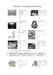 English Worksheets: Invitations - accepting and refusing