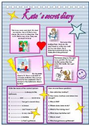 English Worksheets: Kate�s secret diary