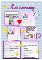 English Worksheet: Kate�s secret diary