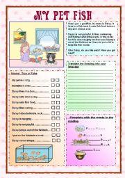 English Worksheet: My pet fish