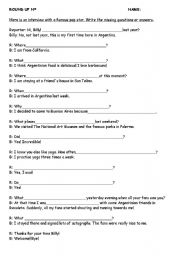 English Worksheets: Interview a famous person