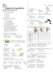 English Worksheet: exam for 5th grade